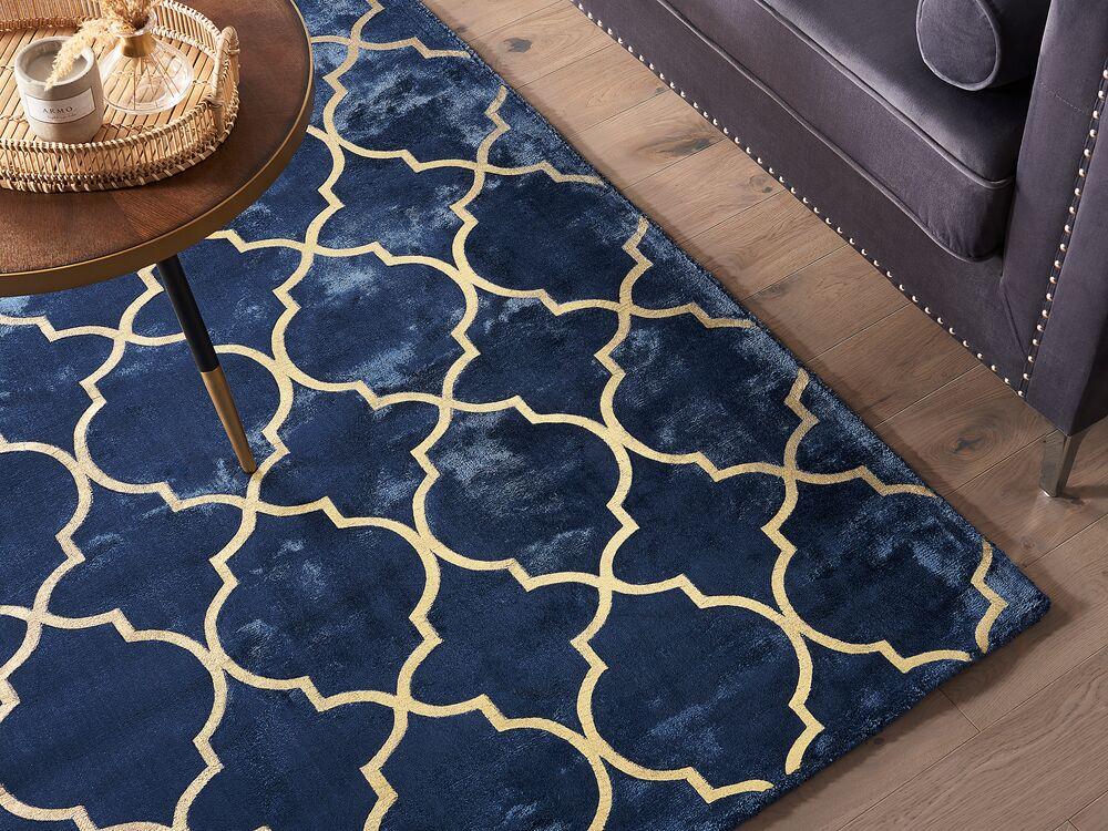 viscose bleu marine au motif marocain