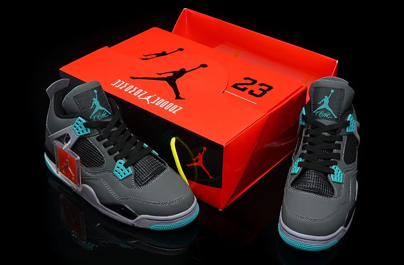 e475aeb03789 Exquisite Box Nike Air Jordan IV Mens Shoes in Gray and Sky Blue