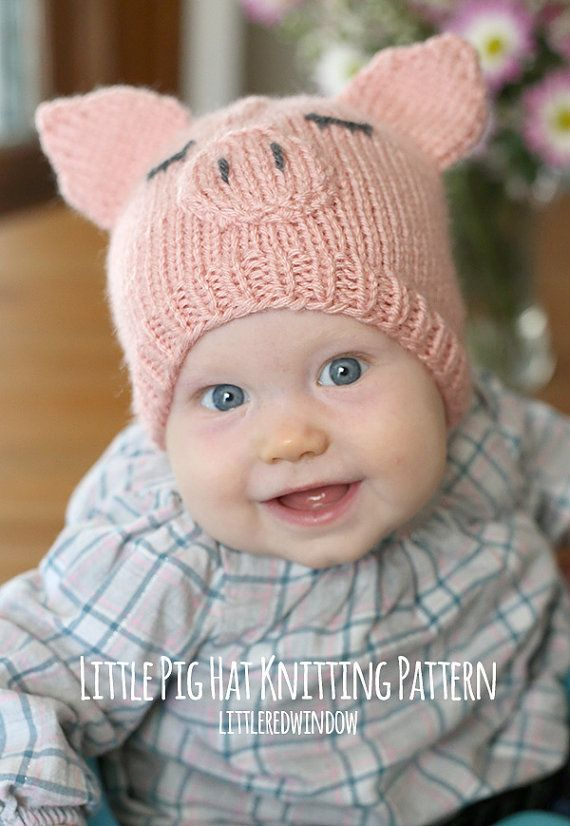 Baby Pig Hat KNITTING PATTERN / Pig Knitting Pattern / Kids Animal ...