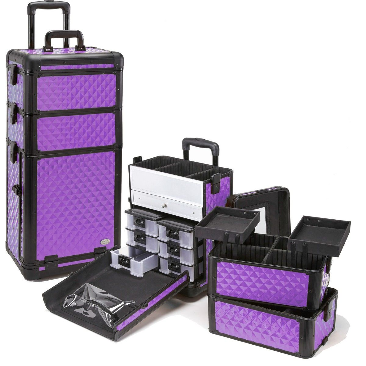 Purple Diamond Professional Rolling Makeup Case w/ Drawers