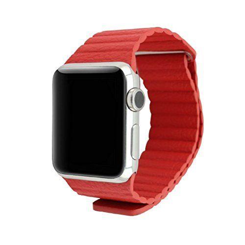 Lmeno 42mm Apple Watch Uhrenarmband Uhrband Armband Echt Leder Loop mit Magnet-Verschluss Replacement Watch Strap Wrist Band zubehör mit Adapter für Apple iWatch & Watch Edition--Rote - http://on-line-kaufen.de/lmeno/42mm-lmeno-38mm-apple-watch-uhrenarmband-uhrband-4