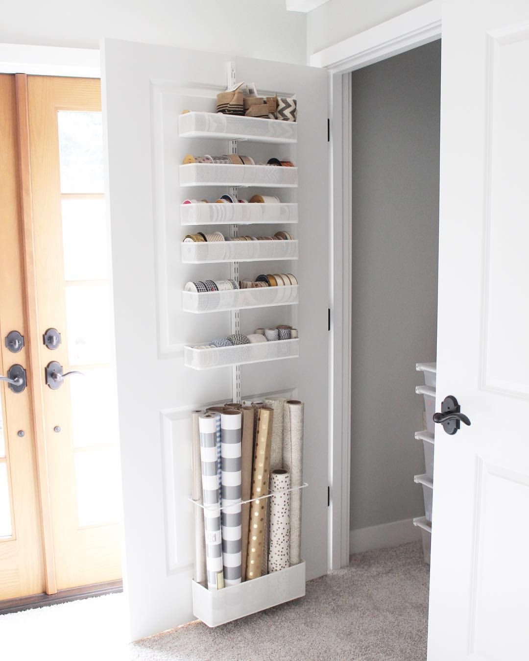 See This Instagram Photo By Prettypeachtree 119 Likes The Perfect Over Door Gift Wrap And Ribbon Organiza Closet Under Stairs Cupboard Storage Stair Storage