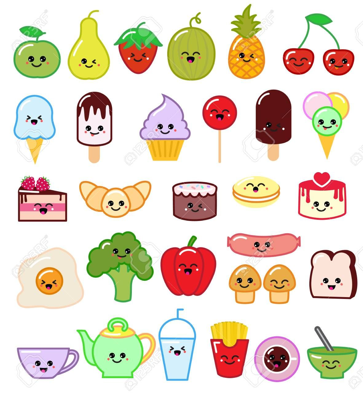 Kawaii Food Vector Emoticon Japanese Fruit Or Vegetable Character And Emoji Dish With Cartoon Sausage In Japan Re In 2020 Cute Food Drawings Kawaii Food Kawaii Doodles