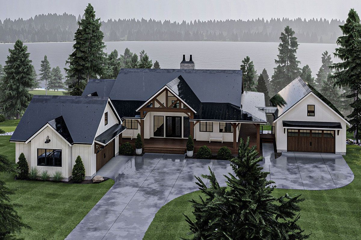 Lake House Plan with Massive Wraparound Covered Deck and Optional Lower Level Lake Bar