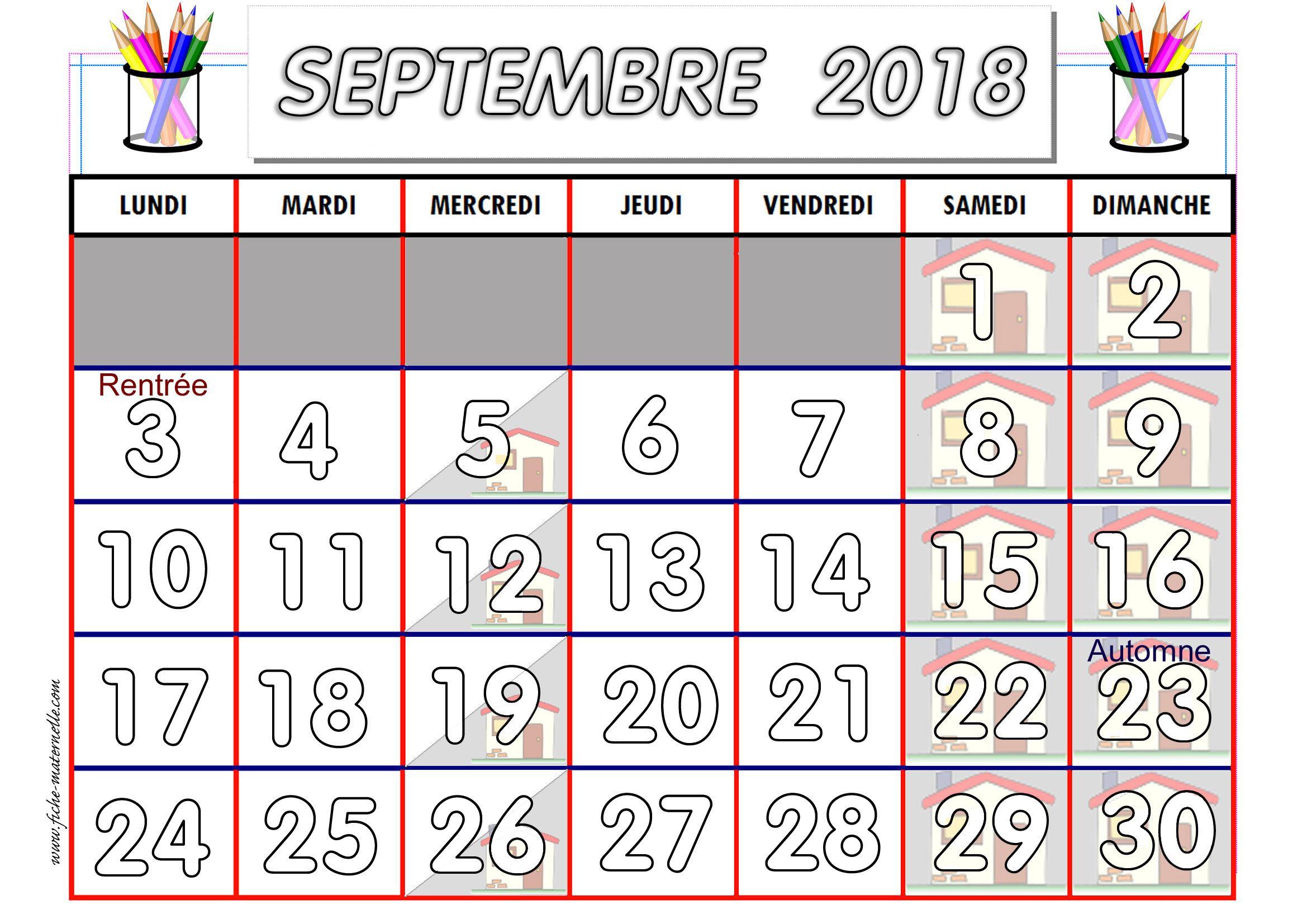 Calendrier Septembre 2020 Septembre 2019.Calendrier Adapte Aux Maternelles Et Prescolaires 2018 2019