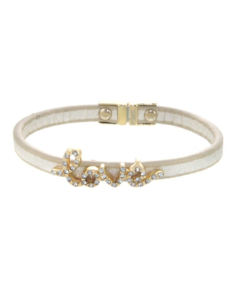 "ZB0375  Crystal pave ""Love"" faux leather bracelet.  -plated base metal, crystal, faux leather  -magnetic closure  -width: .5"", length: 7"" - ZB0375-GOLD WHITE"