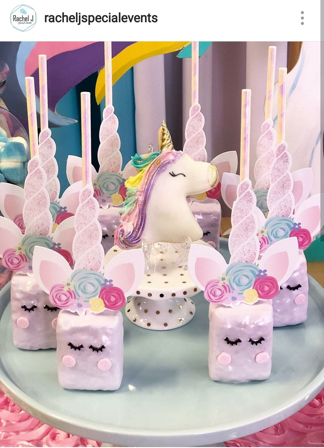 Unicorn themed custom Rice Krispie treats | Birthday ...