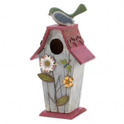 Quaint cottage is abloom with colorful cutouts of lovely garden delights, a jaunty red roof brightened and lacy gingerbread trim. A dream home for any feathered family! Sliding door on back for cleaning purpose.