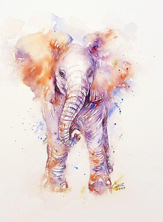 Baby Elephant Animal Art Watercolor Painting Cute Elephant En 2020