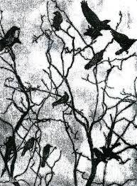 Title: Crows In Winter - Monotype Artist: Rachel Breen Medium: Drawing - Monotype Print - Black Printing Ink On Cartridge Paper