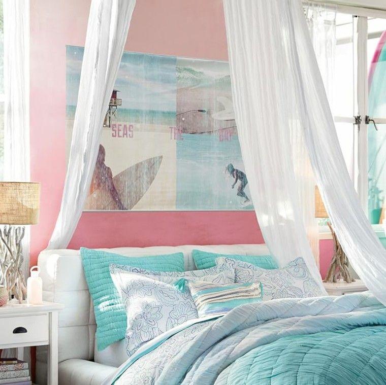 Dormitorio para adolescentes con cama con dosel blanco for Dormitorio adolescente