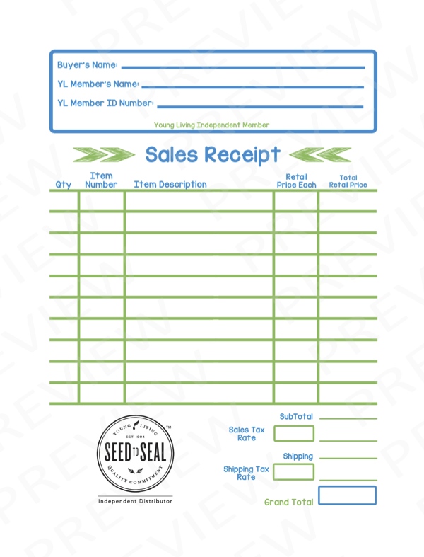 young living themed sales receipt for retail sales can also be used