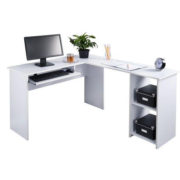 Fineboard L Shaped Office Corner Desk 2 Side Shelves White 99
