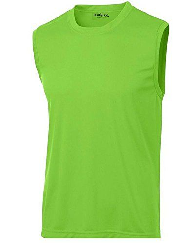 0cd1e6ee07ff94 Clothe Co Mens Sleeveless Moisture Wicking Muscle Shirt Lime Shock L --  More info could be found at the image url.(This is an Amazon affiliate link…