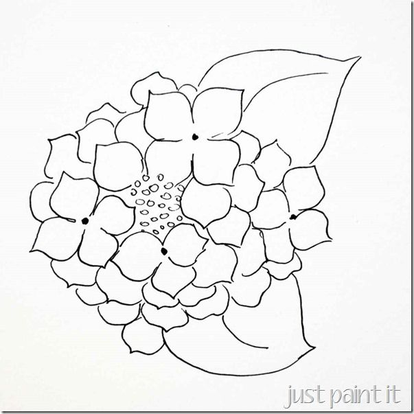 Paint Hydrangea Free Printables Just Paint It Blog Flower Drawing Stained Glass Patterns Watercolor Hydrangea