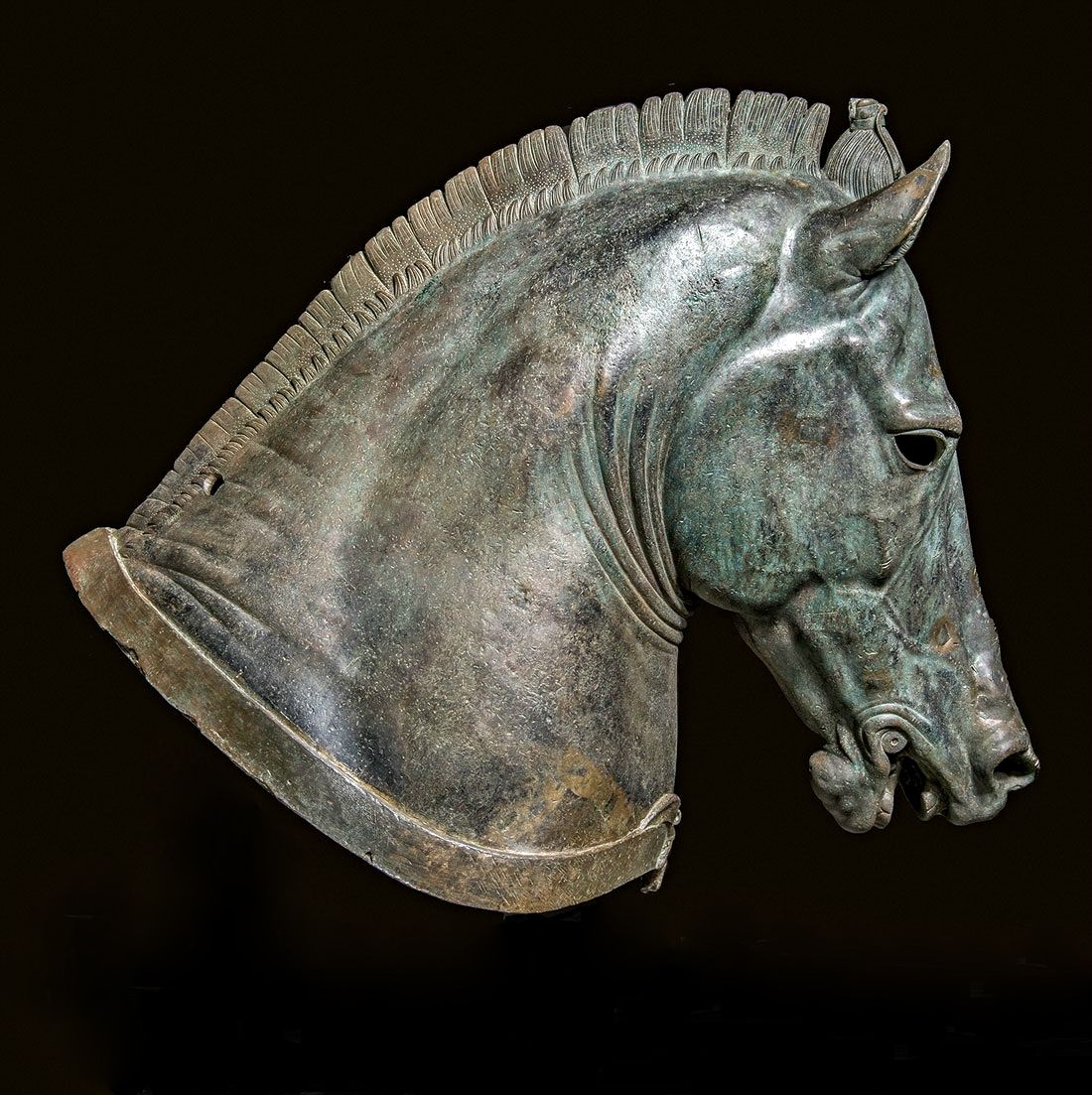 "Horse Head ""The Medici Riccardi Horse"" Roman. About 350 B.C. bronze. http://hadrian6.tumblr.com"