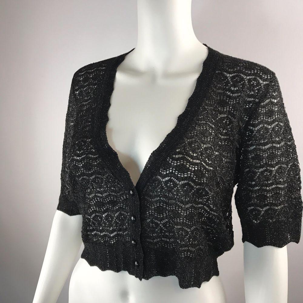 Express LARGE Bolero Cardigan Sweater Lace Knit Short Sleeve Black ...