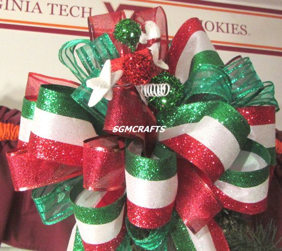classic christmas wired ribbon tree topper bow by sgmcrafts