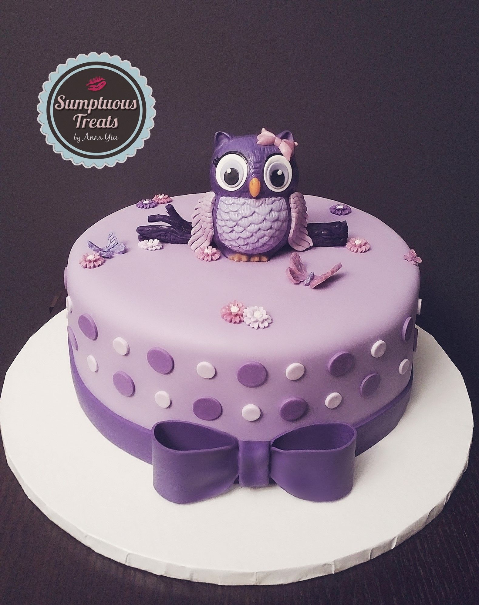 Purple Theme Owl Baby Shower Cake Custom Made To Order Cakes