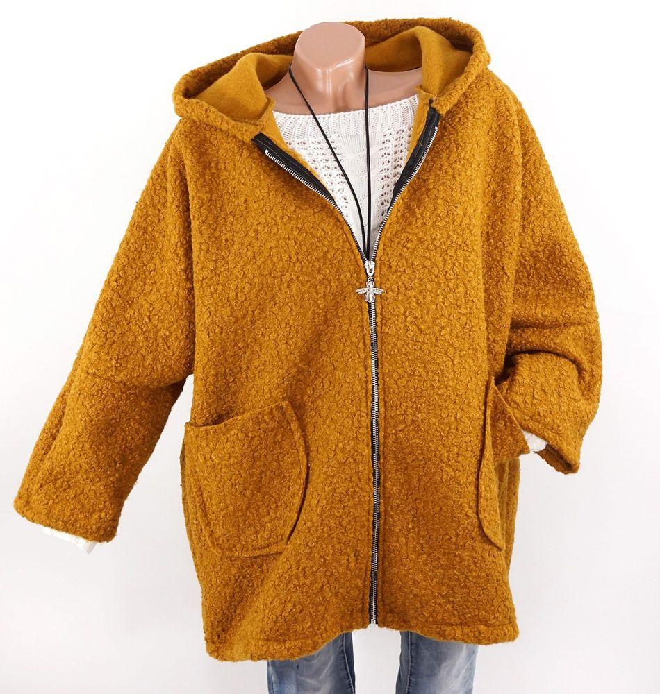 Jacke Damen Mantel Gelb Boucle Oversize Kapuze Fledermaus 40