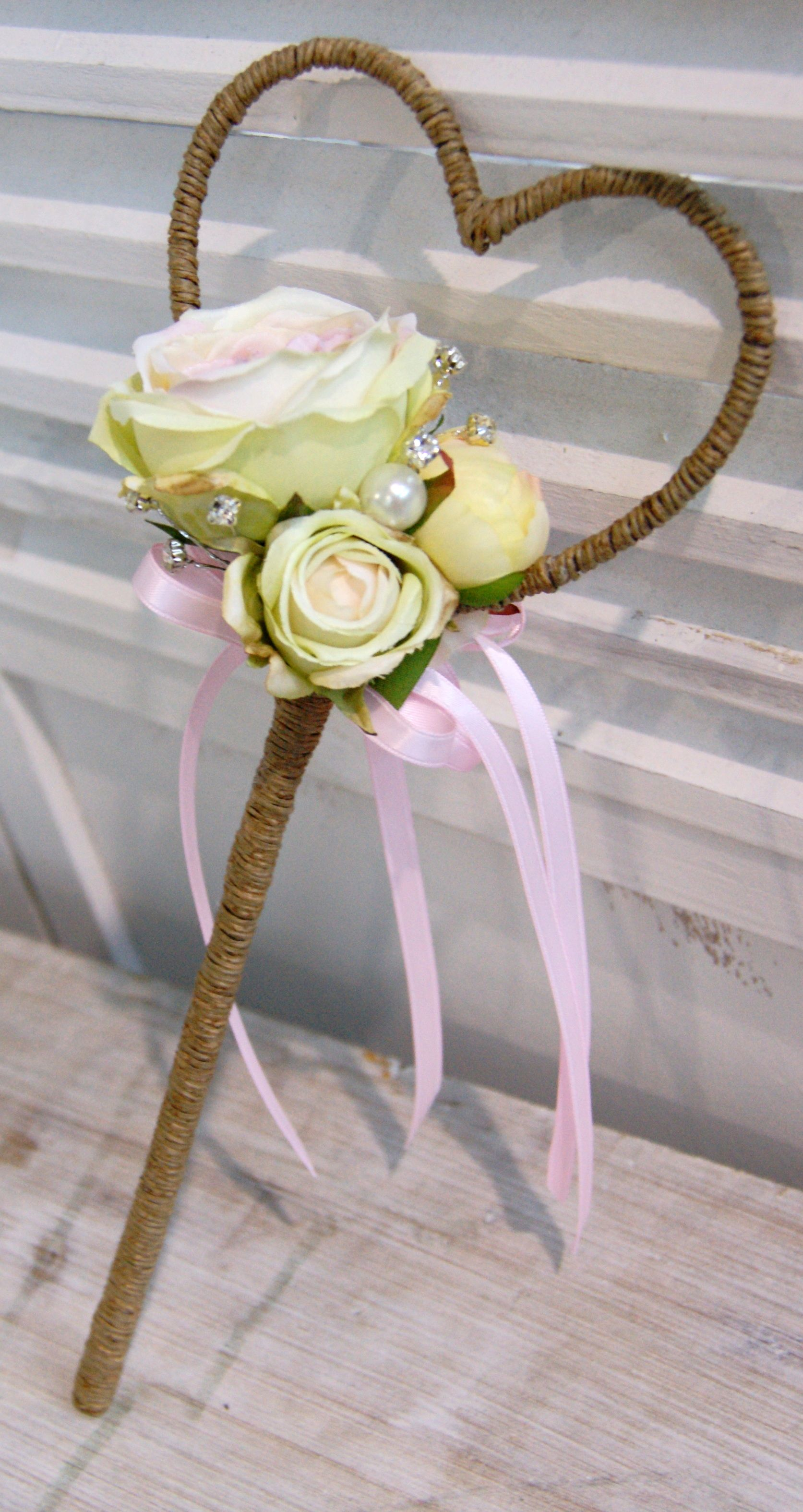 Pretty Heart Wand Perfect For A Flower Girl Artificial Flowers