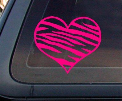 Zebra print heart hot pink car decal sticker by world design http