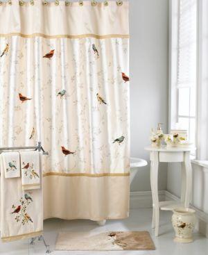 Avanti Bath Accessories Gilded Birds Shower Curtain Ivory Cream