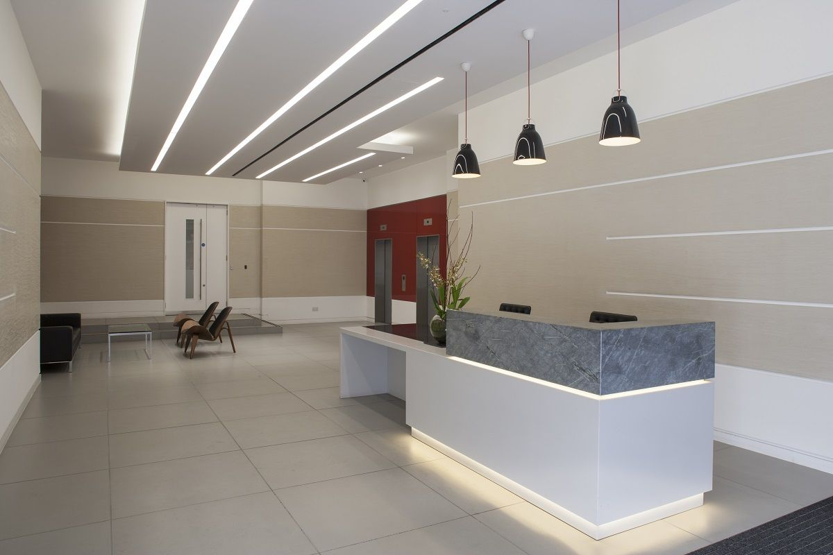 Overclad existing reception desk google search office for Office design works
