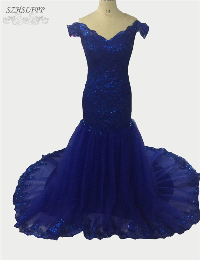Click to buy ucuc real photo blue sequined prom dresses off the