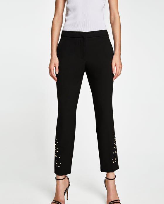 Pantalon Perlas Pantalones De Vestir Pantalones Mujer Zara Espana Pantalones De Vestir Mujer Pantalones De Vestir Pantalones Mujer