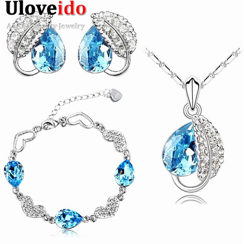 Uloveido Plated Silver CZ Diamond Jewelry Sets Necklace Earring