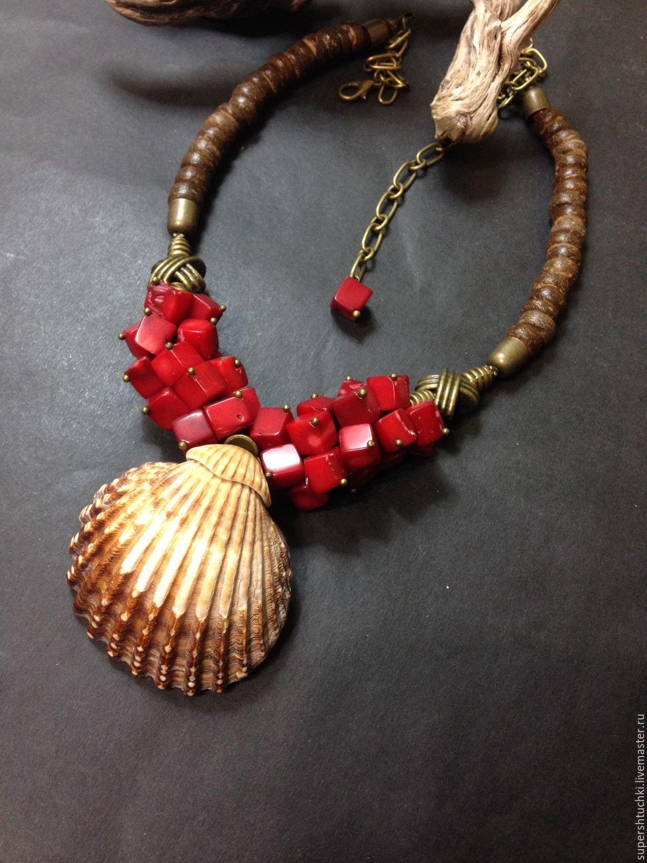 """Купить Колье """"Мускат"""" с кораллами - ярко-красный, украшения ручной работы, украшение на шею, украшения"""