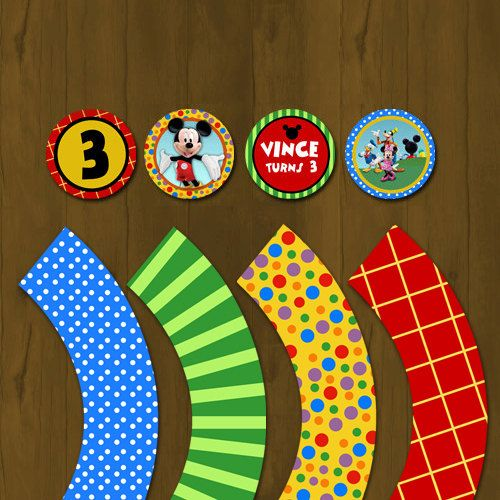Mickey Mouse Clubhouse Printable Cupcake toppers - Mickey Clubhouse Cupcake toppers with Wrappers. $7.00, via Etsy.