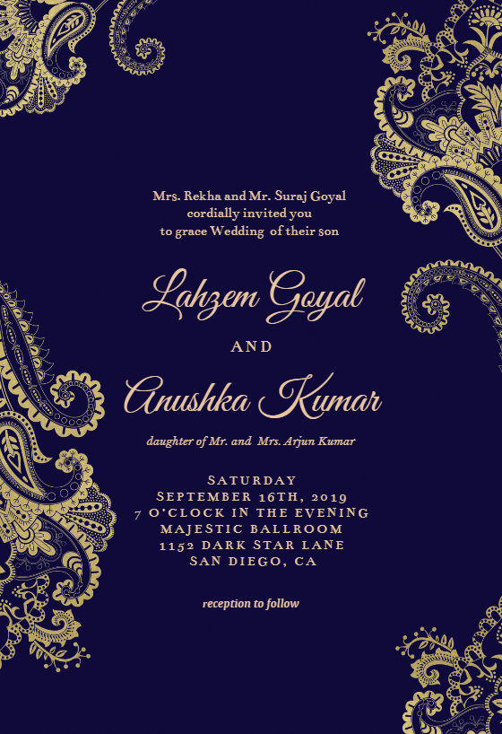 Elegant Henna Wedding Invitation Template (free in 2020
