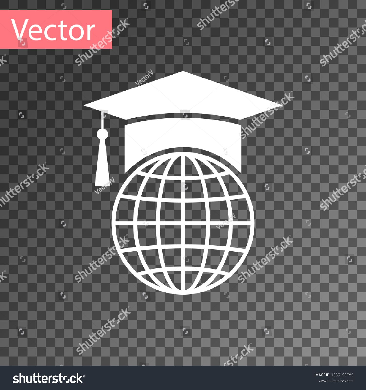 White Graduation Cap On Globe Icon Isolated On Transparent