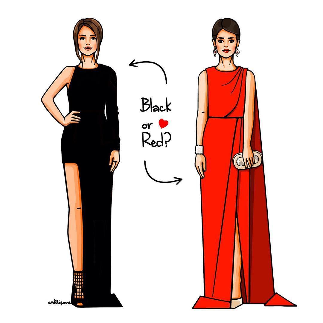 Черное или красное?♠️♥️♣️♦️ #girlsinbloom #illustration ✏️ #fashionillustration #art_fashion #август #лето #понедельник #платье #inspiration #арт #иллюстрация #вдохновение