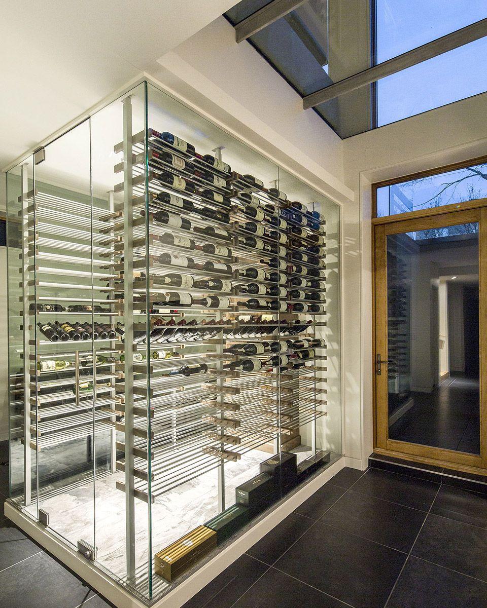 Basement Bar Conceptual Would Need Glass Sliding Doors: Custom Modern Glass Surround Wine Cellar Designed And
