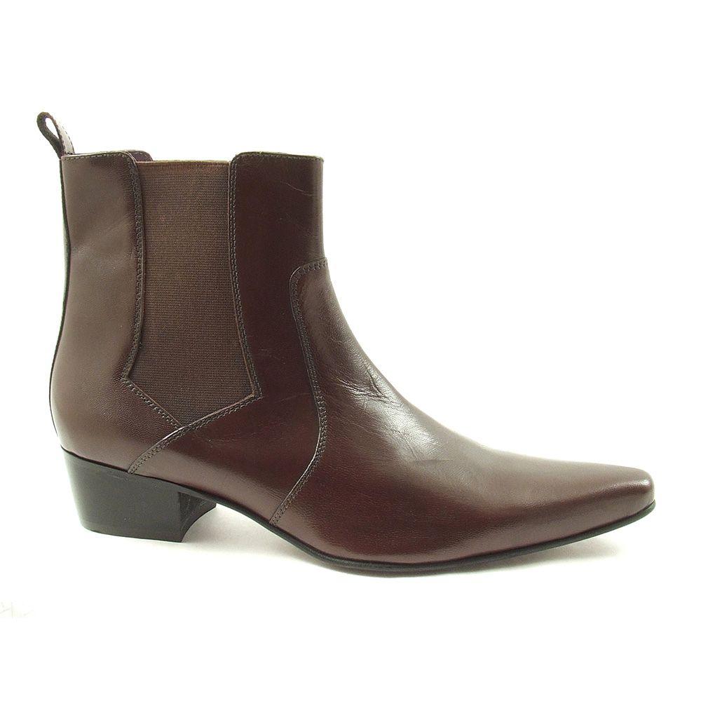 Gucinari Mens Leather Cuban Heel Pointed Funky Retro Winklepicker Chelsea Boots