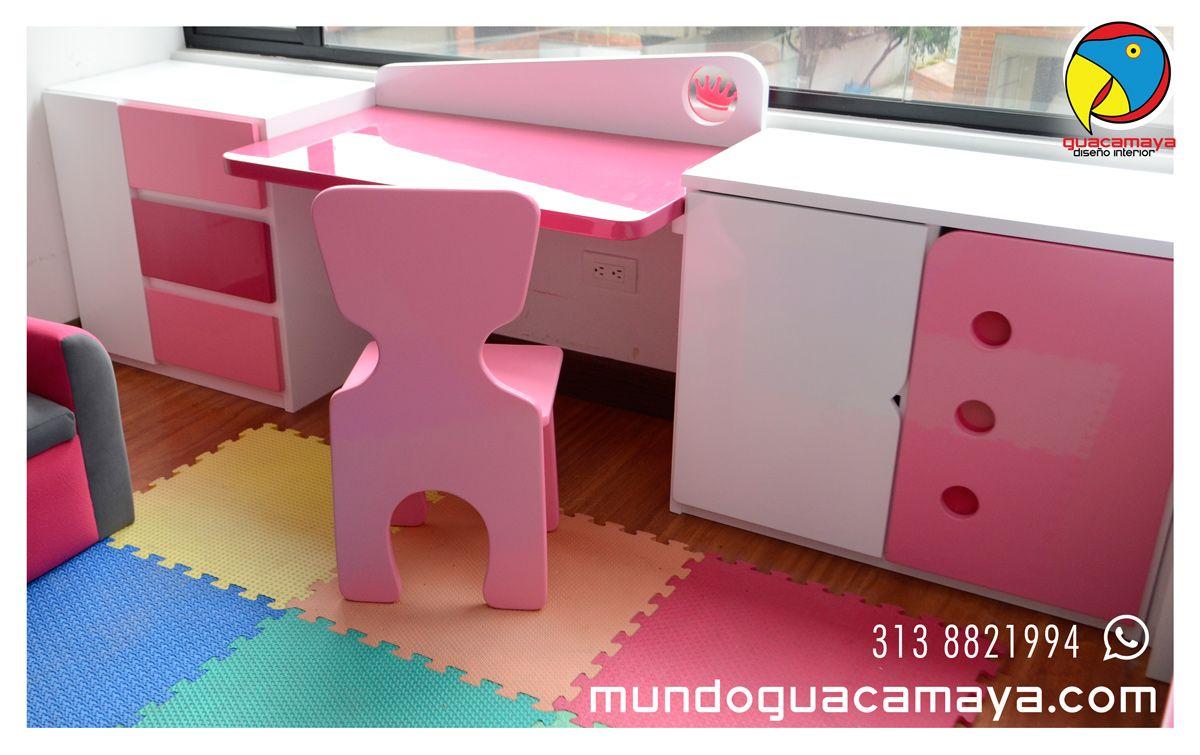 Escritorio Con Organizadores Multifuncional Para Ni Os Y Ni As  # Muebles Infantiles Bogota