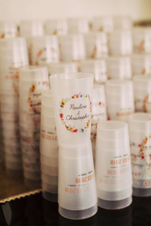 Faire Des Gobelets Personnalisés mariage bohème champêtre coloré. gobelet eco-cup #fairepart