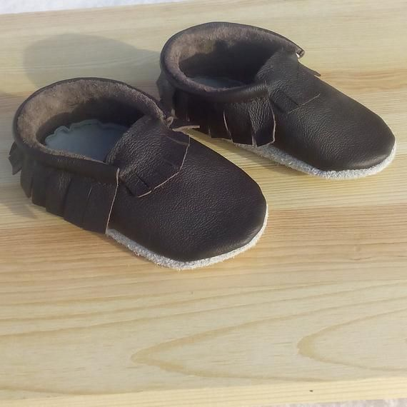 a29784940aedc Baby Moccasins, Ebooba, Chocolate Leather Soft Sole Baby Shoes ...