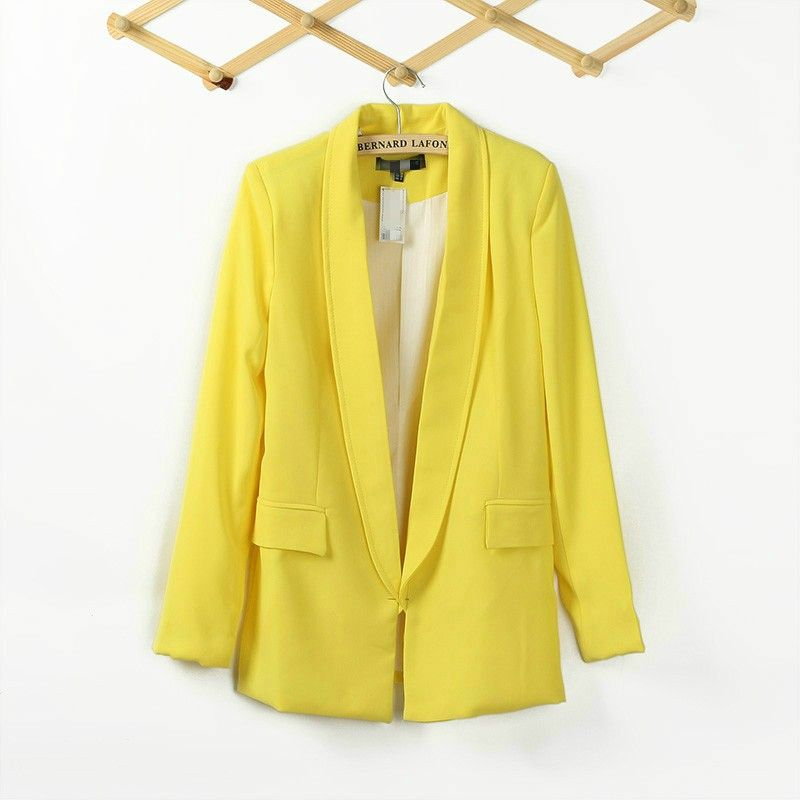 New Arrival Pockets Candy Color Long Casual Blazer: dressyours.com