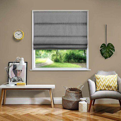 Photo of Raffrollo Basket Blickdicht Ebern Designs Größe: 240 cm B x 180 cm L, Farbe: Dunkelgrau