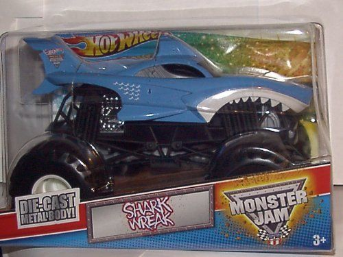 Hot Wheels 1 24 Scale Large Shark Wreak Monster Jam Truck By Hot Wheels 39 99 2011 Hot Wheels 1 24 Scale Shark Monster Jam Toys Monster Trucks Toy Trucks