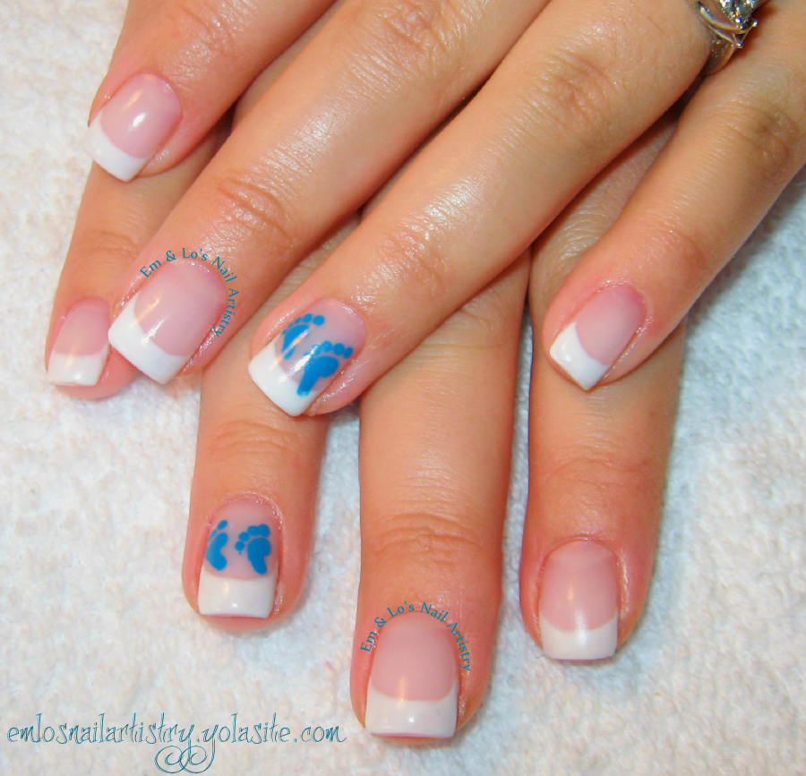 Baby Boy Nails ~ Natural Nail French Gel Overlay ~ Hand Painted Art ...