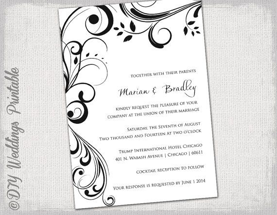 Wedding invitation templates black and white scroll invitations wedding invitation templates black and by diyweddingsprintable 800 stopboris Image collections