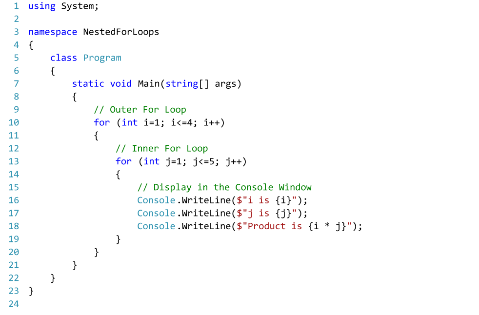 C# Code for Nested For Loops  Text Editor - Visual Studio