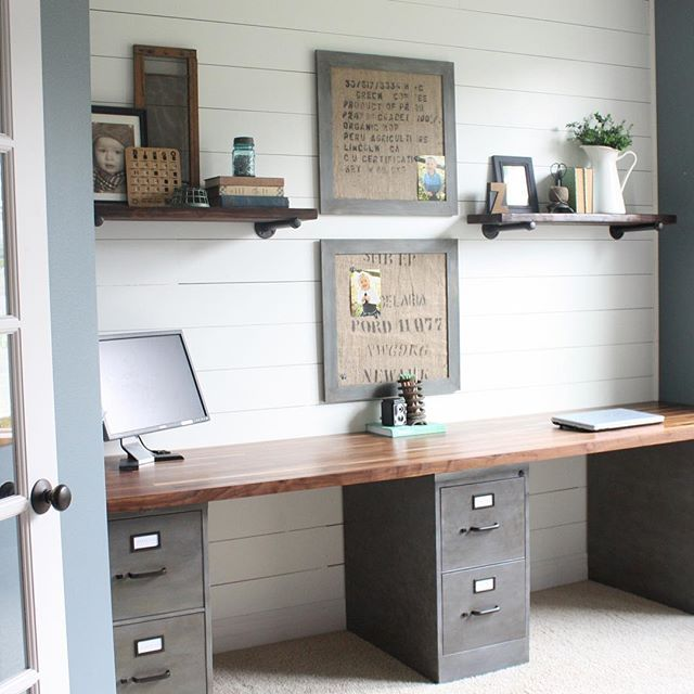 Merveilleux ... Desk Out Of Filing Cabinet Legs. Office Makeover With Duo Work Areas  And A Plank Wall.