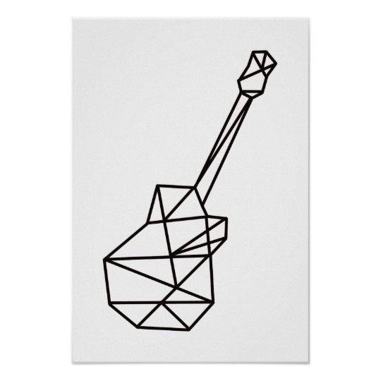 Photo of modern music geometric guitar on white poster | Zazzle.com