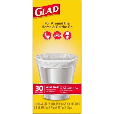 Glad Small Trash Bags 4 Gallon White 30ct In 2020 Trash Bags Seasonal Cleaning Trash Bag